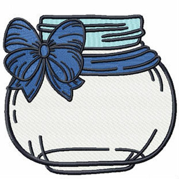 Blue Bow Mason Jar - Canning Jars #05 Machine Embroidery Design