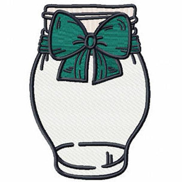 Blue Green Bow Mason Jar - Canning Jars #06 Machine Embroidery Design