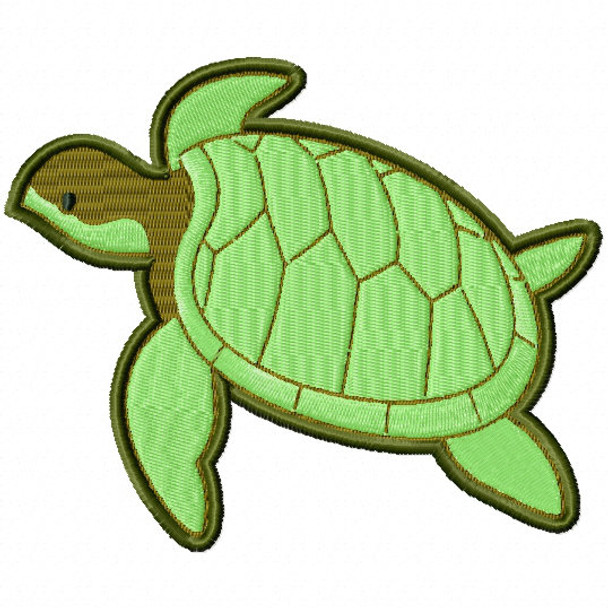Sea Turtle - Under The Sea #11 Stitched and Applique Machine Embroidery Design