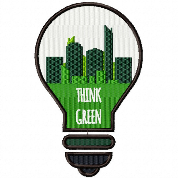 Think Green Bulb - Go Green Collection #01 Machine Embroidery Design