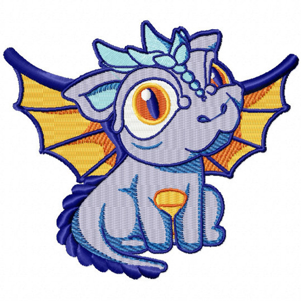 Purple Dragon - Dragon Cartoon #02 Machine Embroidery Design
