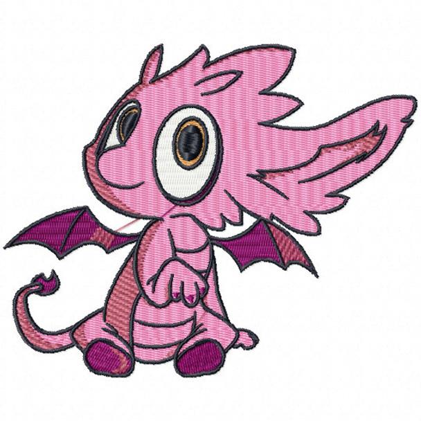 Pinky Dragon - Dragon Cartoon #03 Machine Embroidery Design