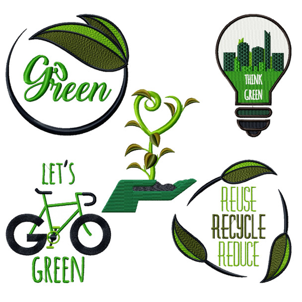 Go Green Collection - 5 Machine Embroidery Designs
