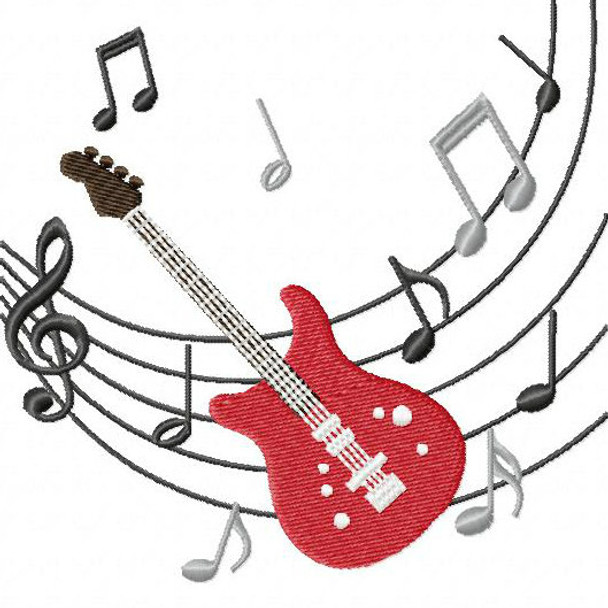Electric Guitar - Musical Instrument Collection #01 Machine Embroidery Design