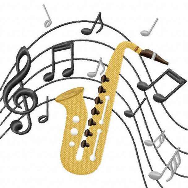 Saxophone - Musical Instrument Collection #02 Machine Embroidery Design