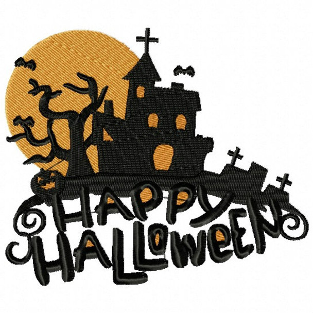 Haunted House - Happy Halloween #01 Machine Embroidery Design