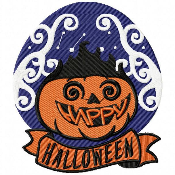 Swirl Jack O Lantern - Happy Halloween #05 Machine Embroidery Design