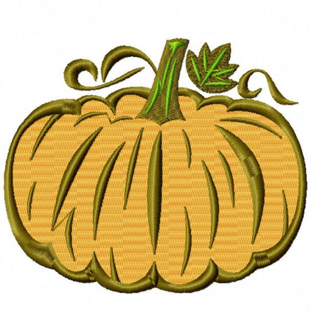 Halloween Pumpkin - Halloween #05 Stitched and Applique Machine Embroidery Design