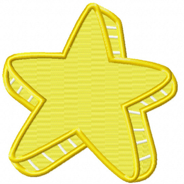 Bright Yellow Star - Stars #02 Stitched and Applique Machine Embroidery Design
