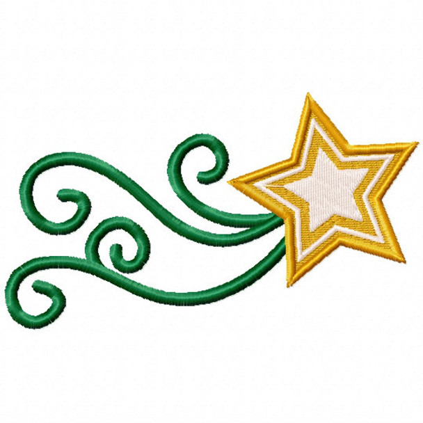 Green Star Trail 2 - Stars #08 Stitched and Applique Machine Embroidery Design