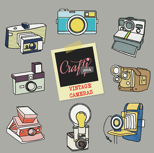Vintage Camera Collection 8 Machine Embroidery Designs
