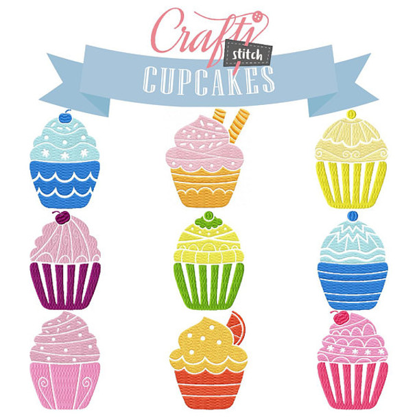 Cupcakes Collection of 9 Machine Embroidery Designs