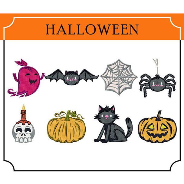 Halloween Collection of 8 Machine Embroidery Designs in Stitched and Applique