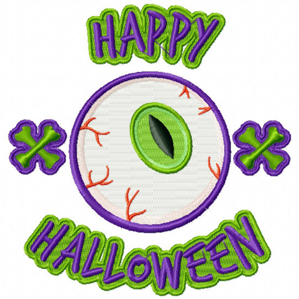 Machine Embroidery Design Halloween Eyes Design 01