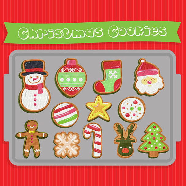 Christmas Cookies Collection of 12 Machine Embroidery Designs