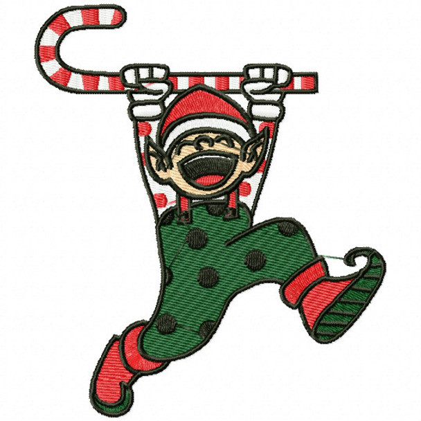 Laughing Elf With Candy Cane Funny Elves 04 Machine Embroidery Design