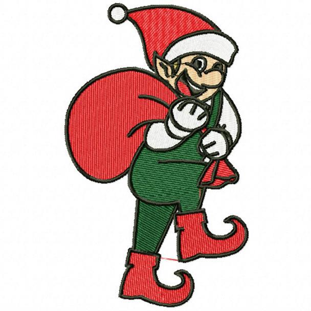 Smiling Elf With Santa Bag Funny Elves 06 Machine Embroidery Design