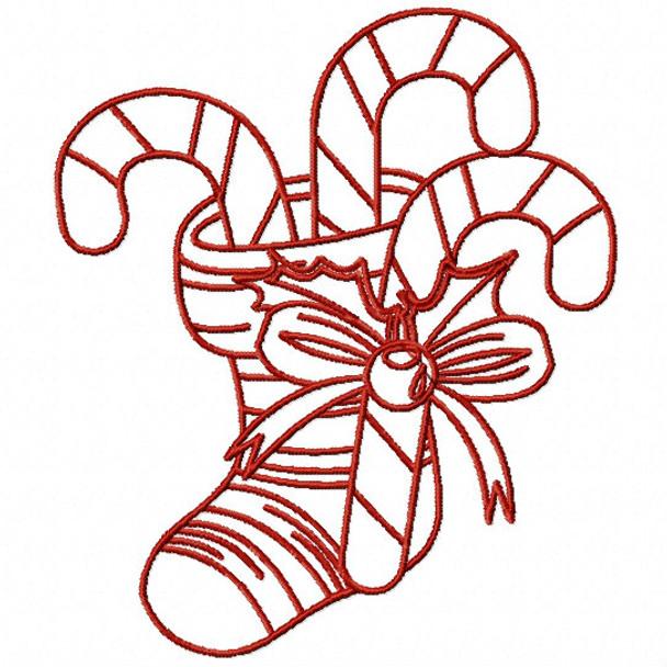 390612408850c Redwork Christmas Stockings #04 Machine Embroidery Design