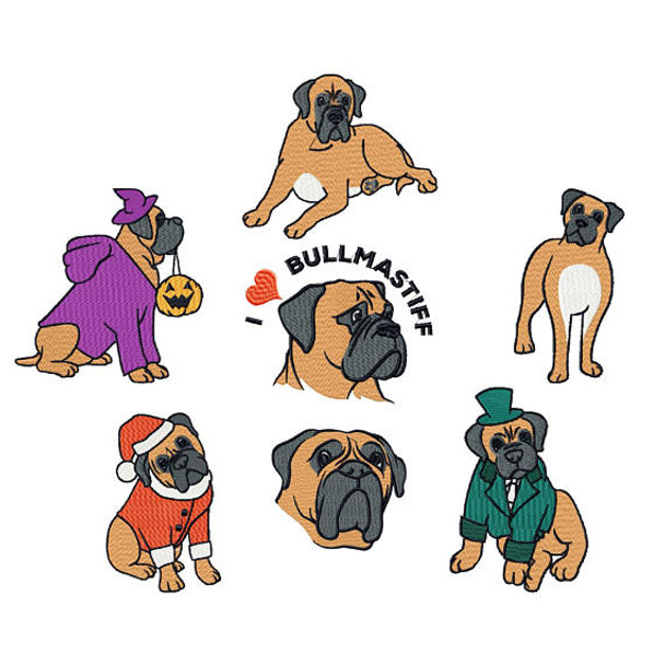 Bullmastiff Collection of 7 Machine Embroidery Designs