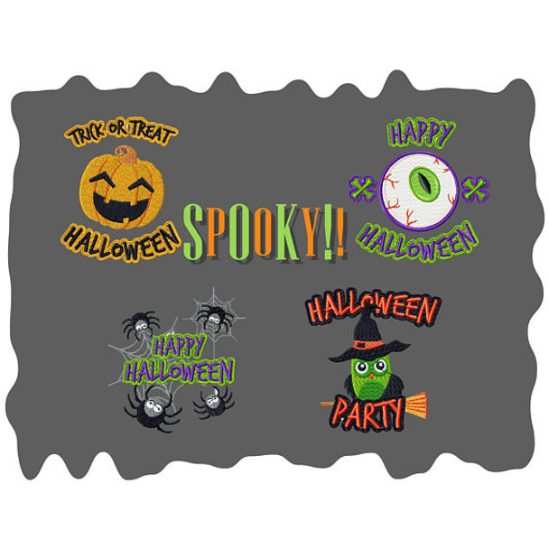 Spooky Collection of 4 Machine Embroidery Designs in Stiched