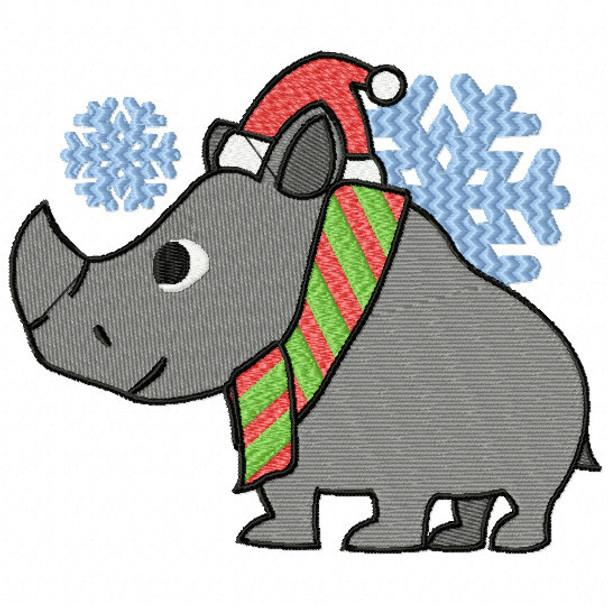 Christmas Rhino - Christmas Woodland Animals #09 Machine Embroidery Design