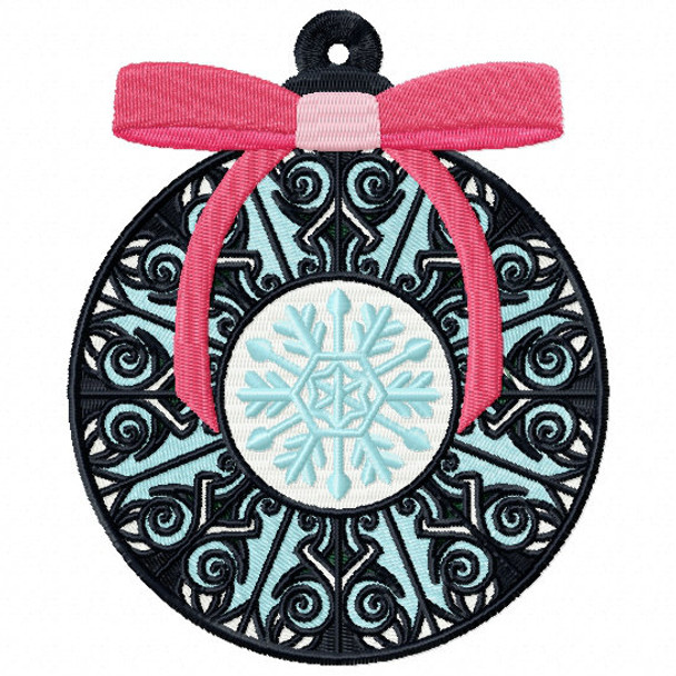 Pink Ribbon Ornament - Christmas Ornaments #12 Machine Embroidery Design