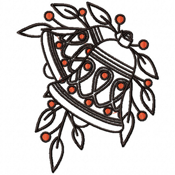 Christmas Bell Ornament - Christmas Ornaments #13 Machine Embroidery Design