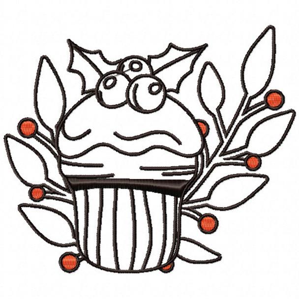 Cupcake Ornament - Christmas Ornaments #15 Machine Embroidery Design