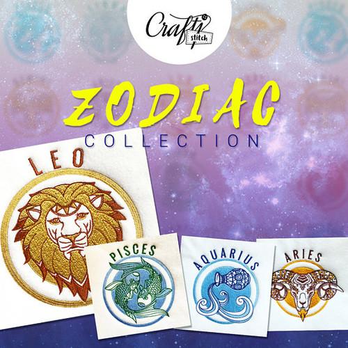 Multiple Sizes BUNDLE Fire Zodiac Signs Machine Embroidery Design