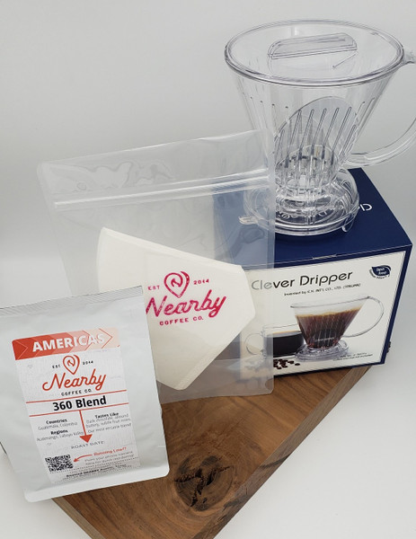 12 oz. bag of 360, Clever Coffee Dripper, 25 filters