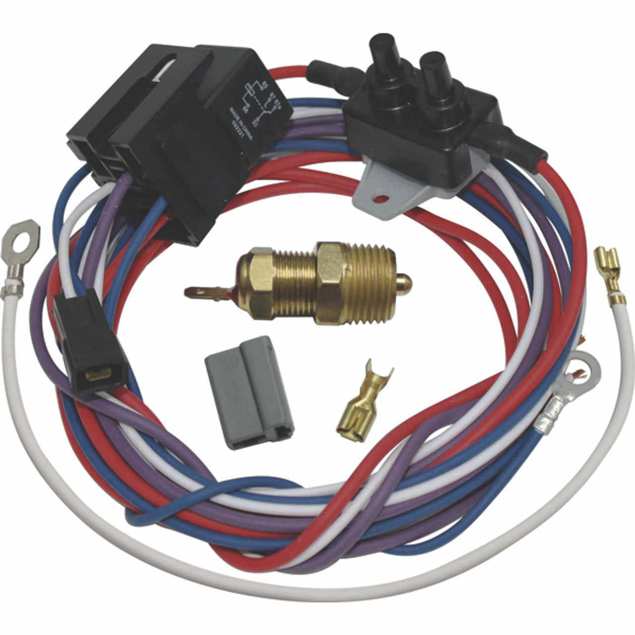 vintage air electric fan thermostat kit w wiring 190 degree switch kit Automotive Wiring Harness