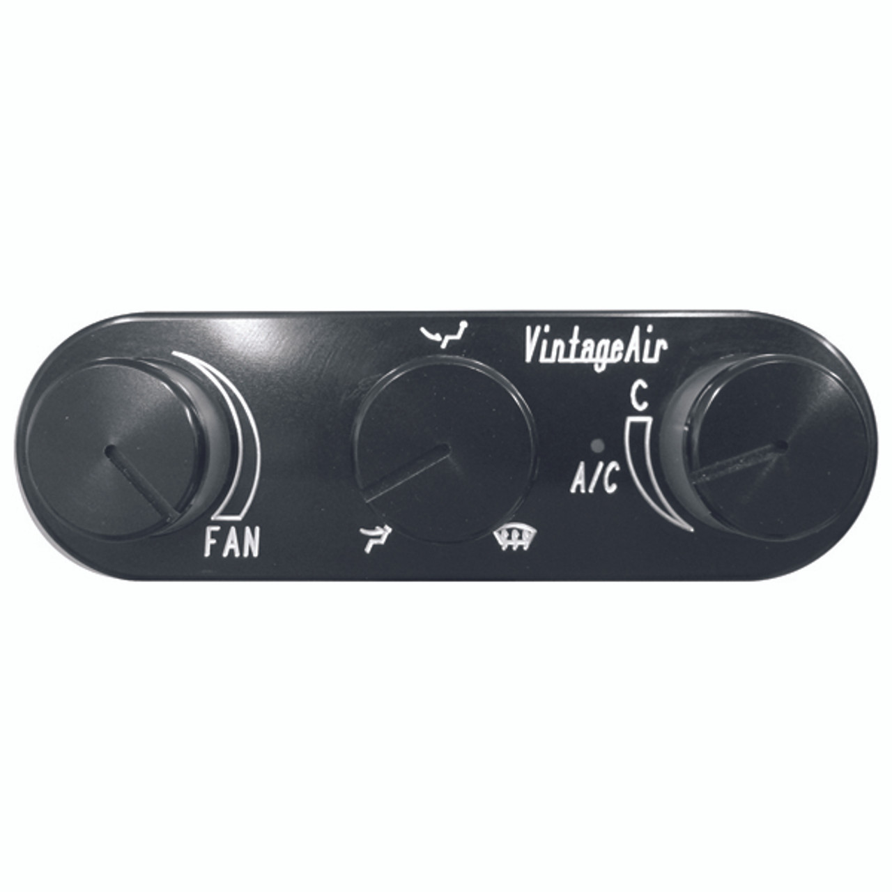 Vintage Air Upgrade 3-Knob Gen IV ProLine™ Oval Horizontal Control Panel,  Black Anodized Finish