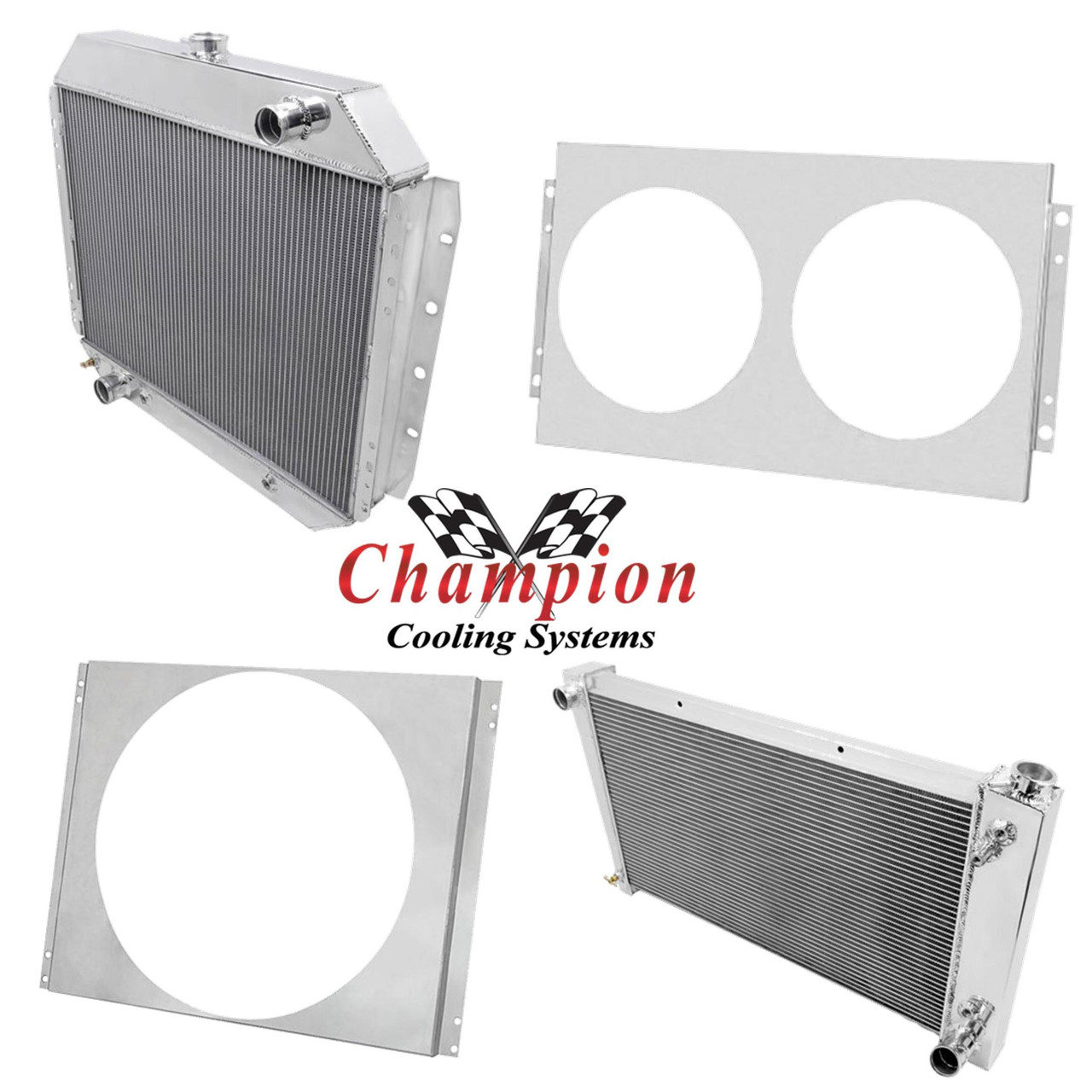 "3 Row Perf Champion Radiator W// 16/"" Fan for 1955-1957 Chevrolet Cars V8 Engine"