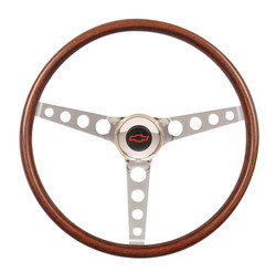 GT Performance GT3 Classic Hole Spokes Wood Wheel, Wood w/ Chrome Spokes