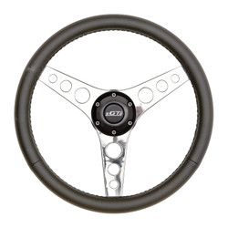 GT Performance GT3 Retro Gasser Hole Spokes Wheel, Black Leather