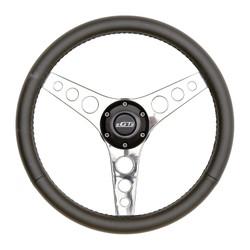 GT Performance GT3 Retro Gasser Hole Spokes Wheel, Black Leather