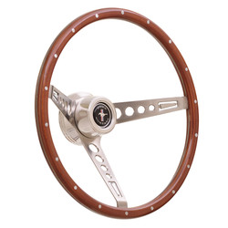GT Performance GT3 Retro Mustang Style Wood Wheel, Wood w/ Chrome Spokes