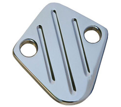 All American Billet Fuel Pump Block Off Plate, Small Block Ford, Polished