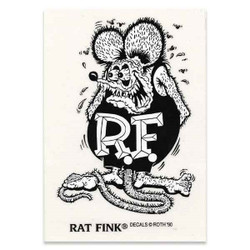 Mooneyes Large Rat Fink Standing Decal, Black & White