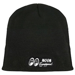 Mooneyes Equipped Embroidered Short Beanie, Black