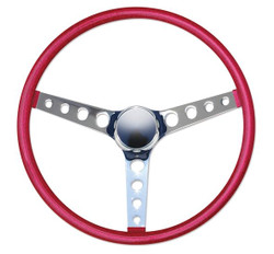 "Mooneyes California Metal Flake Finger Grip: 4-Hole Spoke 15"" Steering Wheel, Red"
