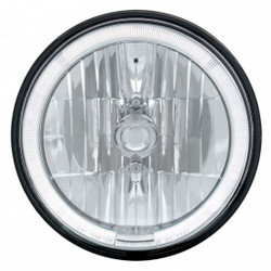 "United Pacific 7"" Crystal Headlight w/ LED Halo Ring, White LED"