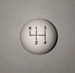 "2"" 4 Speed Reverse Upper Left Shift Knob, White"