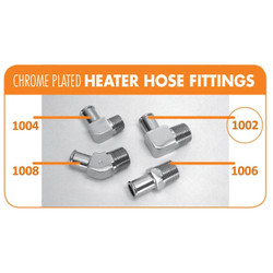 "Bill's Hot Rod Co. Chrome Heater Hose Fitting, 90° - 5/8"" Hose X 1/2"" Pipe (BIL-1002)"