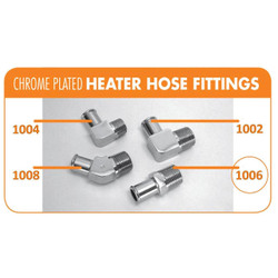 "Bill's Hot Rod Co. Chrome Heater Hose Fitting, Straight - 5/8"" Hose X 1/2"" Pipe (BIL-1006)"