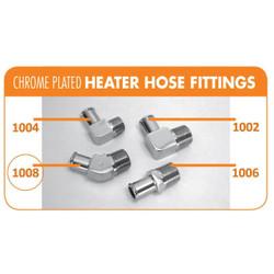 "Bill's Hot Rod Co. Chrome Heater Hose Fitting, 45° - 5/8"" Hose X 1/2"" Pipe (BIL-1008)"