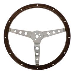"United Pacific 15"" Woodgrain Steering Wheel For 3-Bolt Hubs"