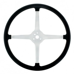 "United Pacific  15"" Chrome Plated 3-Bolt Track Style Steering Wheel w/Rubber Grip"