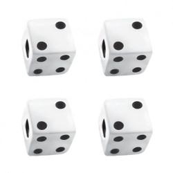 United Pacific  White Dice Valve Caps w/ Black Dots (4 Pack)