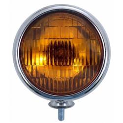 United Pacific  12V Vintage Chrome Fog Light, Amber Lens